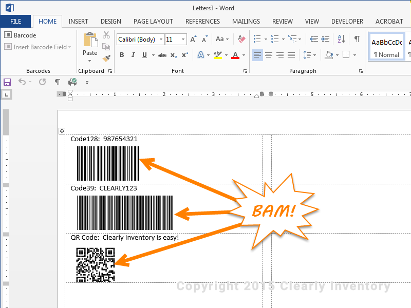 Updated barcodes to print