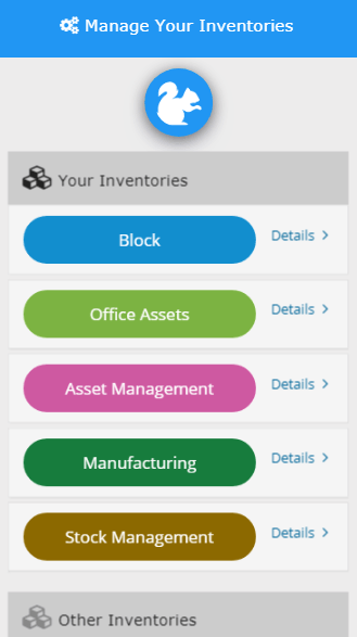 Mobile manage your inventories screen