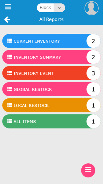 Mobile all reports selection screen