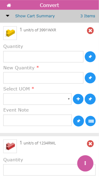 Mobile convert quantity screen