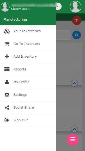 Mobile menu screen