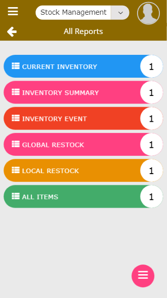 Mobile all inventory management reports screen