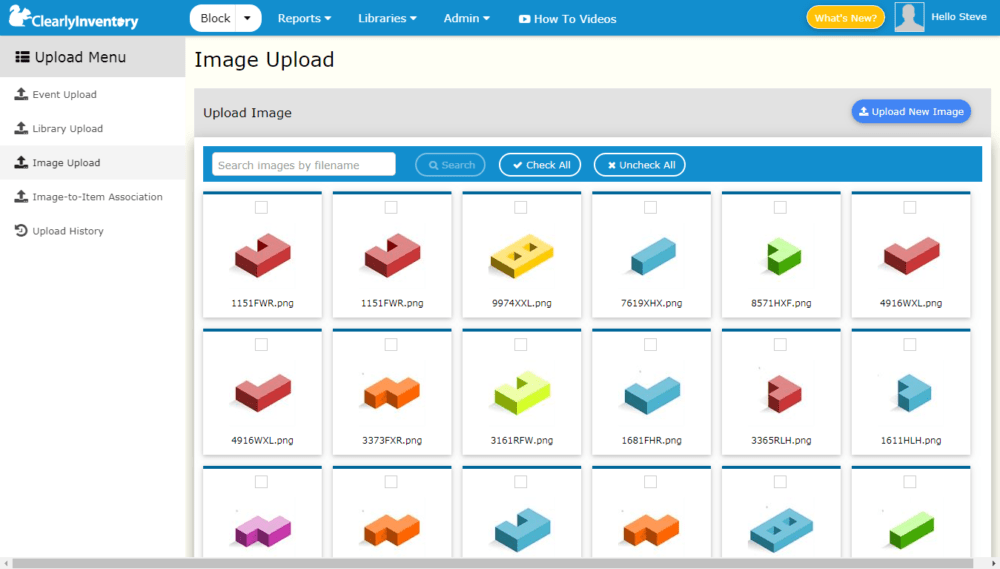 Image upload screen